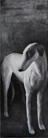 <h1>greyhound</h1>oil on canvas | 160 x 50