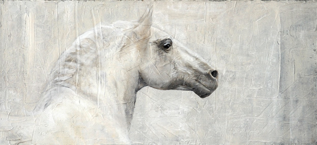 <h1>white horse</h1>oil on canvas | 120 x 40